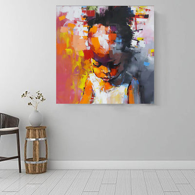"BigProStore Framed Black Art Beautiful Afro Girl Afrocentric Wall Art Afrocentric Decorating Ideas BPS79480 16"" x 16"" x 0.75"" Square Canvas"