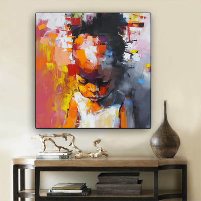 "BigProStore Framed Black Art Beautiful Afro Girl Afrocentric Wall Art Afrocentric Decorating Ideas BPS79480 24"" x 24"" x 0.75"" Square Canvas"