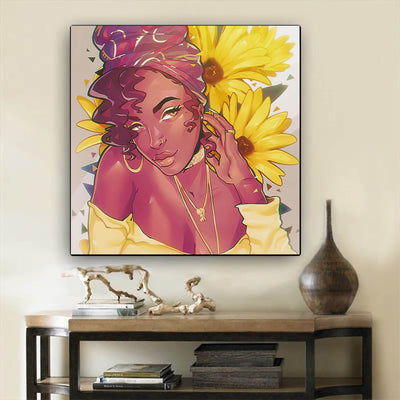 "BigProStore Framed Black Art Beautiful Afro Girl Black History Wall Art Afrocentric Wall Decor BPS98924 12"" x 12"" x 0.75"" Square Canvas"