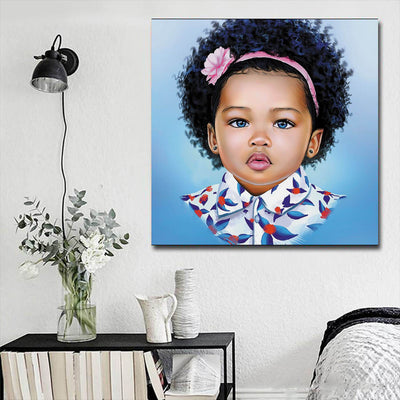 "BigProStore Framed Black Art Beautiful Black American Girl Abstract African Wall Art Afrocentric Decorating Ideas BPS30334 16"" x 16"" x 0.75"" Square Canvas"