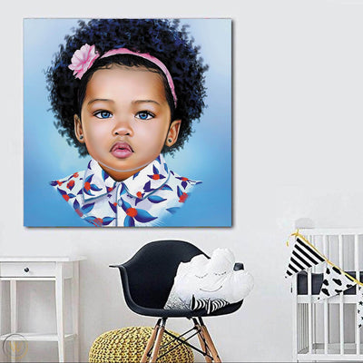 "BigProStore Framed Black Art Beautiful Black American Girl Abstract African Wall Art Afrocentric Decorating Ideas BPS30334 24"" x 24"" x 0.75"" Square Canvas"