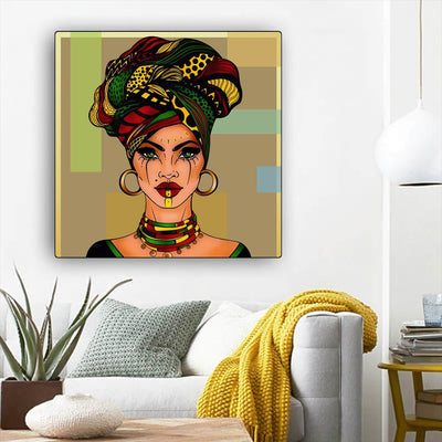 "BigProStore Framed Black Art Beautiful Black American Woman African American Abstract Art Afrocentric Decorating Ideas BPS38907 12"" x 12"" x 0.75"" Square Canvas"