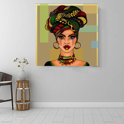 "BigProStore Framed Black Art Beautiful Black American Woman African American Abstract Art Afrocentric Decorating Ideas BPS38907 16"" x 16"" x 0.75"" Square Canvas"