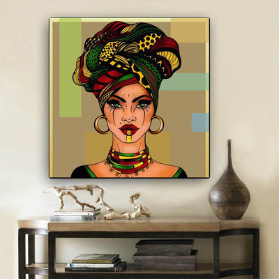 "BigProStore Framed Black Art Beautiful Black American Woman African American Abstract Art Afrocentric Decorating Ideas BPS38907 24"" x 24"" x 0.75"" Square Canvas"