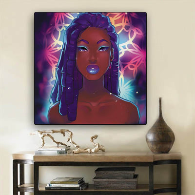 "BigProStore Framed Black Art Beautiful Black American Woman African Canvas Afrocentric Decor BPS68462 12"" x 12"" x 0.75"" Square Canvas"
