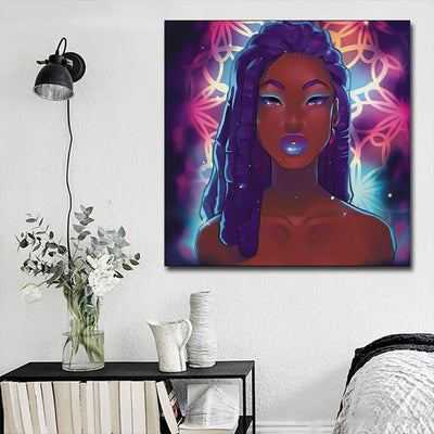 "BigProStore Framed Black Art Beautiful Black American Woman African Canvas Afrocentric Decor BPS68462 16"" x 16"" x 0.75"" Square Canvas"