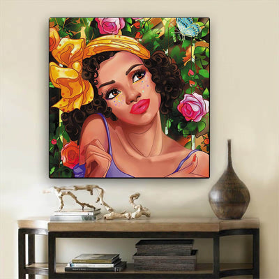 "BigProStore Framed Black Art Beautiful Black American Woman Afro American Art Afrocentric Home Decor Ideas BPS56188 12"" x 12"" x 0.75"" Square Canvas"