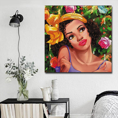 "BigProStore Framed Black Art Beautiful Black American Woman Afro American Art Afrocentric Home Decor Ideas BPS56188 16"" x 16"" x 0.75"" Square Canvas"