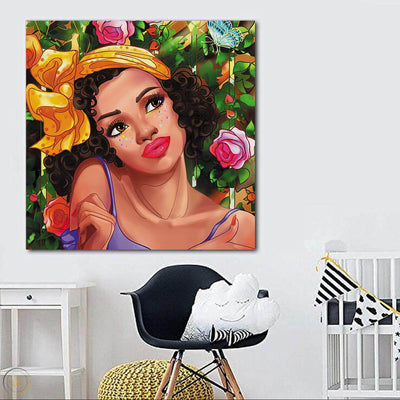 "BigProStore Framed Black Art Beautiful Black American Woman Afro American Art Afrocentric Home Decor Ideas BPS56188 24"" x 24"" x 0.75"" Square Canvas"
