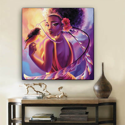"BigProStore Framed Black Art Beautiful Black Girl Afrocentric Wall Art Afrocentric Home Decor Ideas BPS72683 12"" x 12"" x 0.75"" Square Canvas"