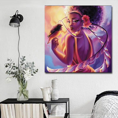 "BigProStore Framed Black Art Beautiful Black Girl Afrocentric Wall Art Afrocentric Home Decor Ideas BPS72683 16"" x 16"" x 0.75"" Square Canvas"