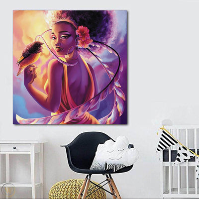 "BigProStore Framed Black Art Beautiful Black Girl Afrocentric Wall Art Afrocentric Home Decor Ideas BPS72683 24"" x 24"" x 0.75"" Square Canvas"