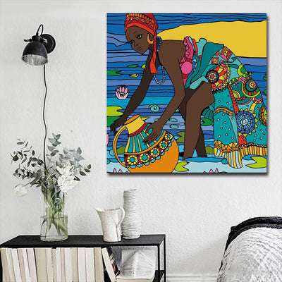 "BigProStore Framed Black Art Beautiful Girl With Afro African Canvas Afrocentric Living Room Ideas BPS56798 16"" x 16"" x 0.75"" Square Canvas"