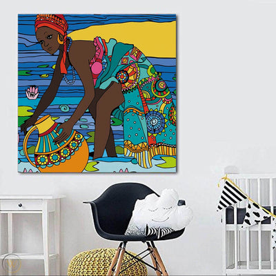 "BigProStore Framed Black Art Beautiful Girl With Afro African Canvas Afrocentric Living Room Ideas BPS56798 24"" x 24"" x 0.75"" Square Canvas"