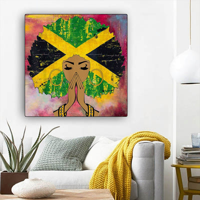 "BigProStore Framed Black Art Beautiful Melanin Girl African American Artwork On Canvas Afrocentric Home Decor Ideas BPS54315 12"" x 12"" x 0.75"" Square Canvas"