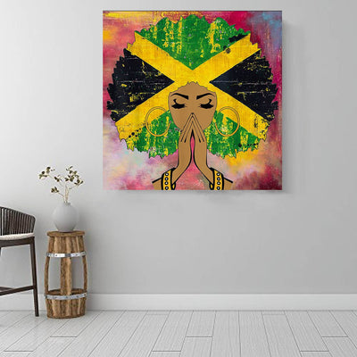 "BigProStore Framed Black Art Beautiful Melanin Girl African American Artwork On Canvas Afrocentric Home Decor Ideas BPS54315 16"" x 16"" x 0.75"" Square Canvas"