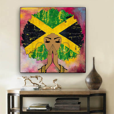 "BigProStore Framed Black Art Beautiful Melanin Girl African American Artwork On Canvas Afrocentric Home Decor Ideas BPS54315 24"" x 24"" x 0.75"" Square Canvas"