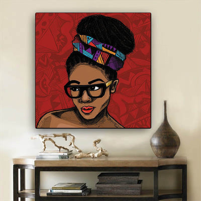 "BigProStore Framed Black Art Beautiful Melanin Girl African American Framed Wall Art Afrocentric Living Room Ideas BPS14862 12"" x 12"" x 0.75"" Square Canvas"