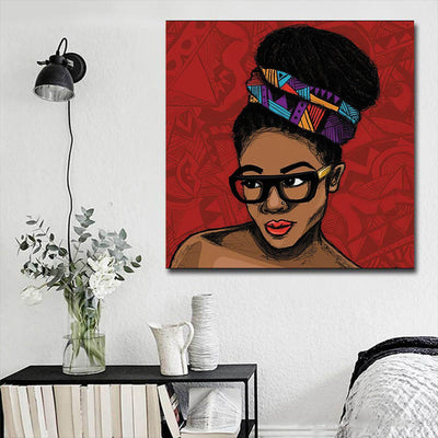 "BigProStore Framed Black Art Beautiful Melanin Girl African American Framed Wall Art Afrocentric Living Room Ideas BPS14862 16"" x 16"" x 0.75"" Square Canvas"