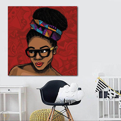 "BigProStore Framed Black Art Beautiful Melanin Girl African American Framed Wall Art Afrocentric Living Room Ideas BPS14862 24"" x 24"" x 0.75"" Square Canvas"