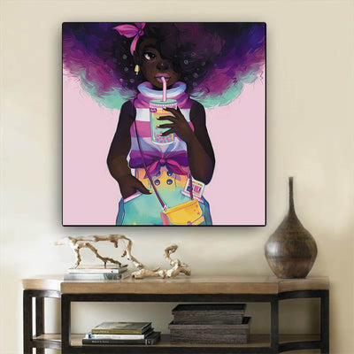 "BigProStore Framed Black Art Cute African American Girl Framed African Wall Art Afrocentric Home Decor Ideas BPS12864 12"" x 12"" x 0.75"" Square Canvas"