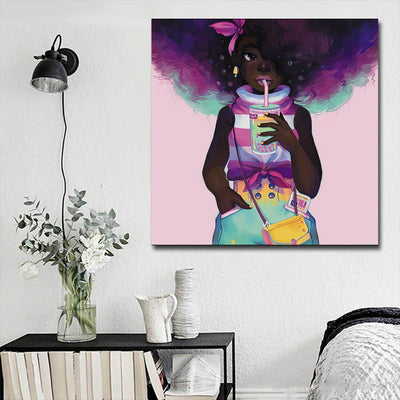 "BigProStore Framed Black Art Cute African American Girl Framed African Wall Art Afrocentric Home Decor Ideas BPS12864 16"" x 16"" x 0.75"" Square Canvas"