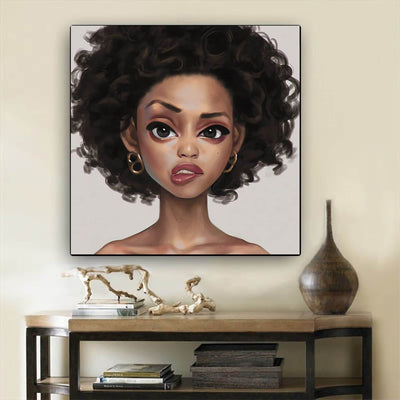 "BigProStore Framed Black Art Cute Afro American Woman African American Prints Afrocentric Home Decor BPS59947 12"" x 12"" x 0.75"" Square Canvas"