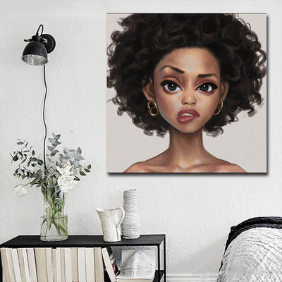 "BigProStore Framed Black Art Cute Afro American Woman African American Prints Afrocentric Home Decor BPS59947 16"" x 16"" x 0.75"" Square Canvas"