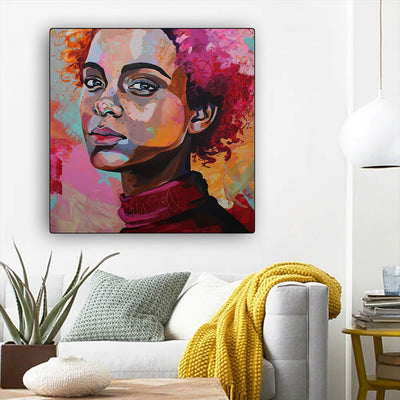 "BigProStore Framed Black Art Cute Melanin Girl African American Wall Art And Decor Afrocentric Wall Decor BPS77006 12"" x 12"" x 0.75"" Square Canvas"