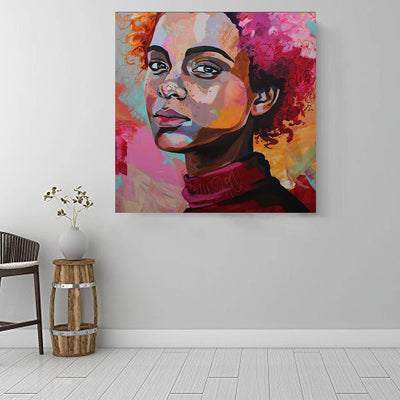 "BigProStore Framed Black Art Cute Melanin Girl African American Wall Art And Decor Afrocentric Wall Decor BPS77006 16"" x 16"" x 0.75"" Square Canvas"