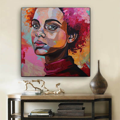 "BigProStore Framed Black Art Cute Melanin Girl African American Wall Art And Decor Afrocentric Wall Decor BPS77006 24"" x 24"" x 0.75"" Square Canvas"