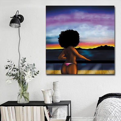 "BigProStore Framed Black Art Cute Melanin Poppin Girl African American Art Prints Afrocentric Home Decor Ideas BPS83000 16"" x 16"" x 0.75"" Square Canvas"