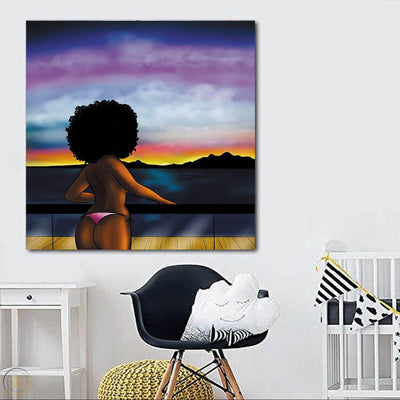 "BigProStore Framed Black Art Cute Melanin Poppin Girl African American Art Prints Afrocentric Home Decor Ideas BPS83000 24"" x 24"" x 0.75"" Square Canvas"
