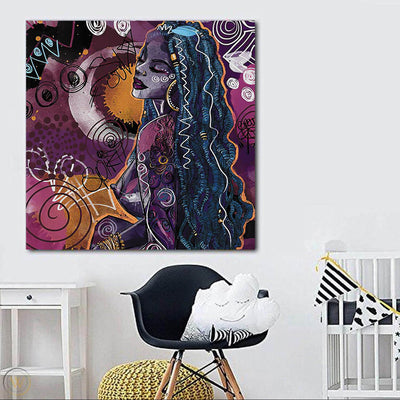 "BigProStore Framed Black Art Pretty African American Girl Modern Black Art Afrocentric Home Decor BPS27935 24"" x 24"" x 0.75"" Square Canvas"