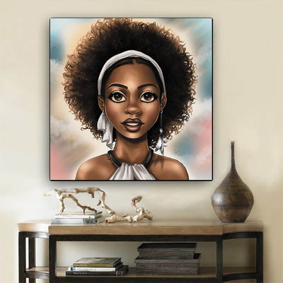 "BigProStore Framed Black Art Pretty African American Woman African American Framed Art Afrocentric Home Decor Ideas BPS37398 12"" x 12"" x 0.75"" Square Canvas"