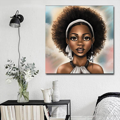 "BigProStore Framed Black Art Pretty African American Woman African American Framed Art Afrocentric Home Decor Ideas BPS37398 16"" x 16"" x 0.75"" Square Canvas"