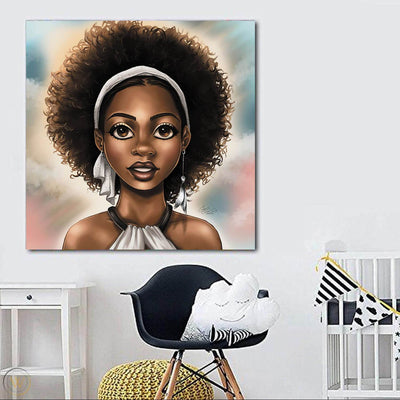 "BigProStore Framed Black Art Pretty African American Woman African American Framed Art Afrocentric Home Decor Ideas BPS37398 24"" x 24"" x 0.75"" Square Canvas"