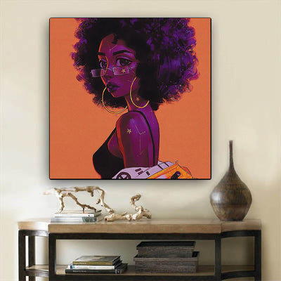 "BigProStore Framed Black Art Pretty African American Woman Modern Black Art Afrocentric Home Decor Ideas BPS54165 12"" x 12"" x 0.75"" Square Canvas"