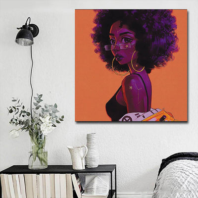 "BigProStore Framed Black Art Pretty African American Woman Modern Black Art Afrocentric Home Decor Ideas BPS54165 16"" x 16"" x 0.75"" Square Canvas"