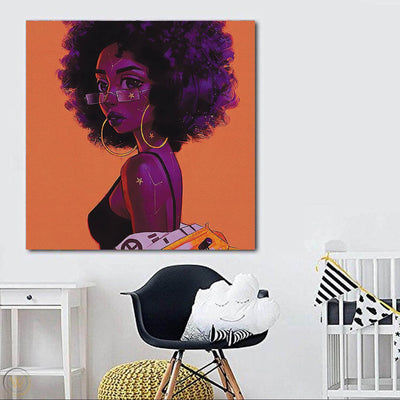 "BigProStore Framed Black Art Pretty African American Woman Modern Black Art Afrocentric Home Decor Ideas BPS54165 24"" x 24"" x 0.75"" Square Canvas"