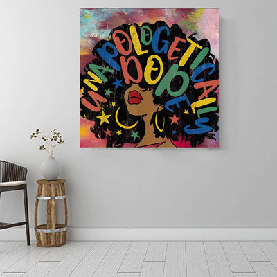 "BigProStore Framed Black Art Pretty Afro American Woman African American Art Prints Afrocentric Home Decor BPS93650 16"" x 16"" x 0.75"" Square Canvas"