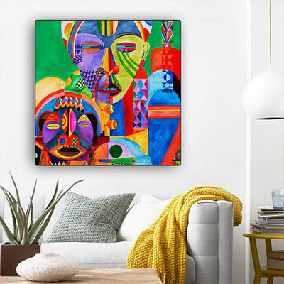 "BigProStore Framed Black Art Pretty Afro American Woman African Black Art Afrocentric Home Decor Ideas BPS19889 12"" x 12"" x 0.75"" Square Canvas"