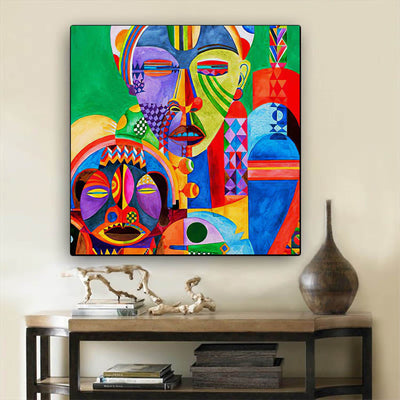 "BigProStore Framed Black Art Pretty Afro American Woman African Black Art Afrocentric Home Decor Ideas BPS19889 24"" x 24"" x 0.75"" Square Canvas"