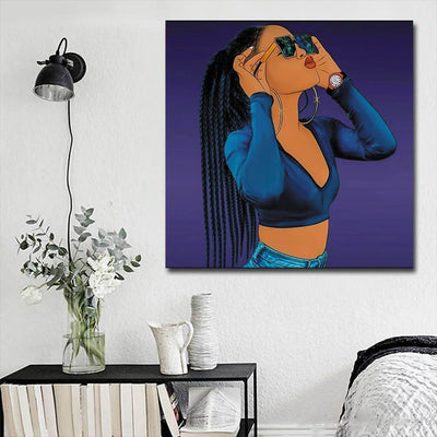 "BigProStore Framed Black Art Pretty Black Afro Girls African American Abstract Art Afrocentric Decor BPS73598 16"" x 16"" x 0.75"" Square Canvas"