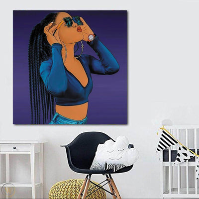 "BigProStore Framed Black Art Pretty Black Afro Girls African American Abstract Art Afrocentric Decor BPS73598 24"" x 24"" x 0.75"" Square Canvas"