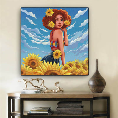 "BigProStore Framed Black Art Pretty Black Afro Girls Afro American Art Afrocentric Home Decor Ideas BPS65196 12"" x 12"" x 0.75"" Square Canvas"