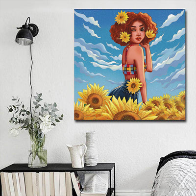 "BigProStore Framed Black Art Pretty Black Afro Girls Afro American Art Afrocentric Home Decor Ideas BPS65196 16"" x 16"" x 0.75"" Square Canvas"