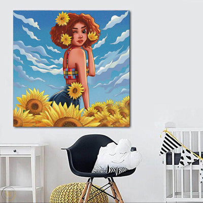 "BigProStore Framed Black Art Pretty Black Afro Girls Afro American Art Afrocentric Home Decor Ideas BPS65196 24"" x 24"" x 0.75"" Square Canvas"