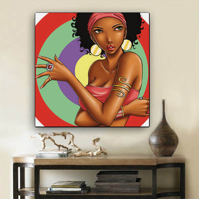 "BigProStore Framed Black Art Pretty Black American Girl African American Wall Art And Decor Afrocentric Decor BPS79339 12"" x 12"" x 0.75"" Square Canvas"