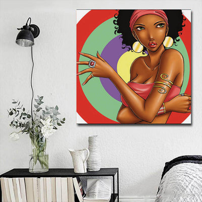 "BigProStore Framed Black Art Pretty Black American Girl African American Wall Art And Decor Afrocentric Decor BPS79339 16"" x 16"" x 0.75"" Square Canvas"